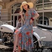 2021夏裝新款女氣質復古碎花洋裝超仙顯瘦海邊度假沙灘裙長【全館免運】