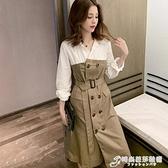秋裝新款時尚黑白色拼接翻領洋裝職業雙排裙高腰女人味裙子 時尚