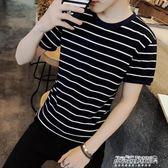 休閒短袖男 短袖T恤衫男士衣服青少年男裝體恤韓版修身圓領條紋   傑克型男館