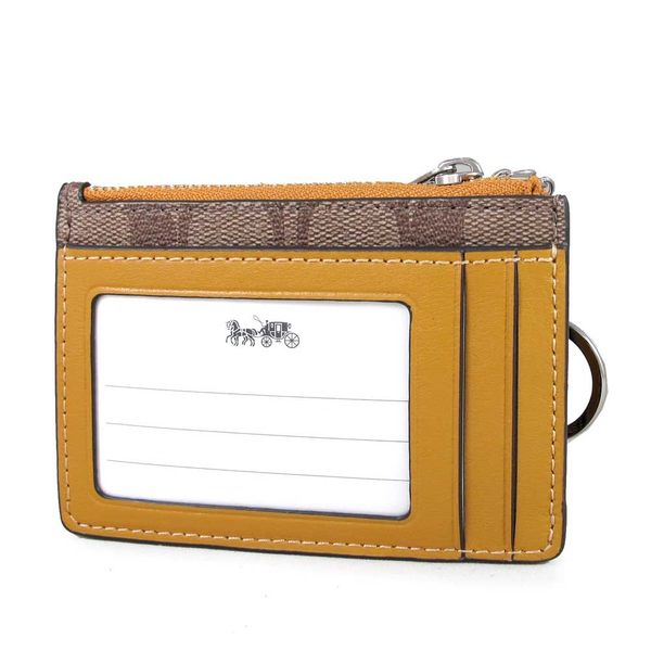 COACH 銀馬車防潑水Logo卡片鎖圈零錢包(亞麻黃色)-16107