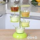 立式調味盒可旋轉調料盒廚房用品帶勺調味瓶【奇趣小屋】