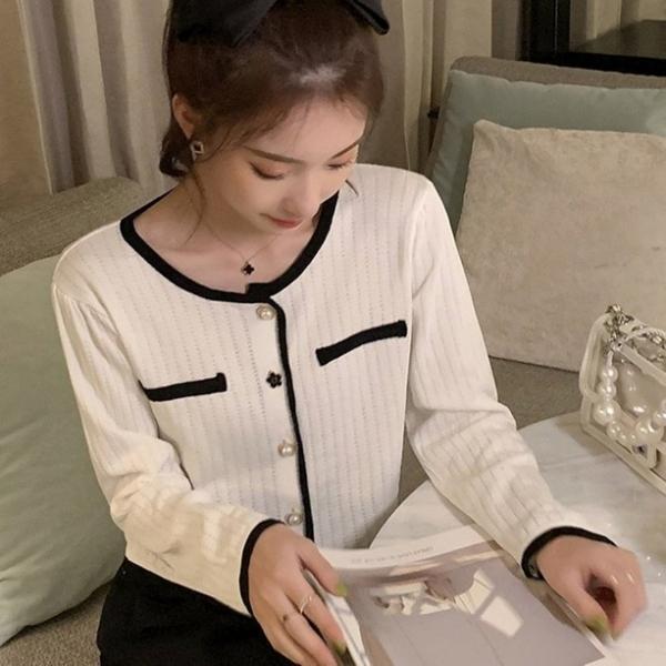 漂亮小媽咪 NiCELIFE 韓版 寬鬆【C5926】針織衫 秋季 個性 單排扣 百搭時尚 針織外套 []