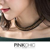 項鍊鉚釘皮革頸鍊短鍊飾品PINK CHIC 35633
