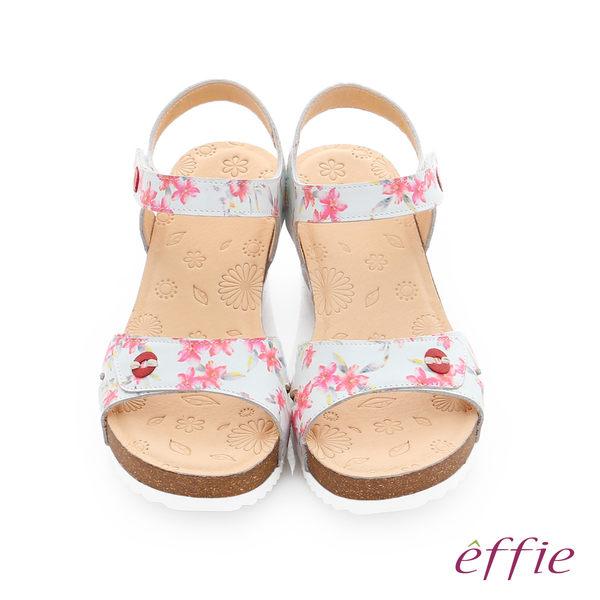 effie 嬉皮假期 真皮彩色繽紛印花厚底涼拖鞋  桃粉紅