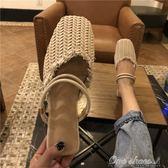 18夏新款韓版復古鏤空編織面平底包頭半拖鞋女兩穿細帶方頭穆勒鞋 阿宅便利店