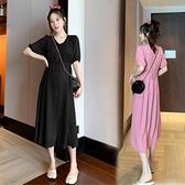 漂亮小媽咪 韓系洋裝 【B7107】 小清新 V領顯瘦 短袖 洋裝 孕婦裝 哺乳洋裝 []