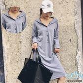 現+預 純色連帽排扣慵懶風孕婦哺乳(排扣式)洋裝 兩色【CRH130007】孕味十足。孕婦裝