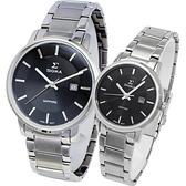 SIGMA 質感簡約藍寶石時尚情人對錶-黑X銀/30/40mm