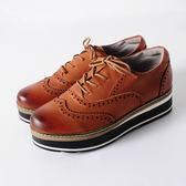 DeSire    細緻簡約綁帶厚底休閒鞋-棕