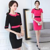 大碼OL洋裝 美容師工作服2019夏韓版修身足浴桑拿連身裙職業裝女裝 js25148『Pink領袖衣社』