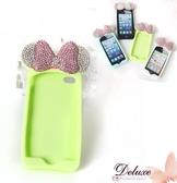 ☆Deluxe☆時尚新潮~水鑚蝴蝶結+軟矽膠 iphone5專用手機殼★綠