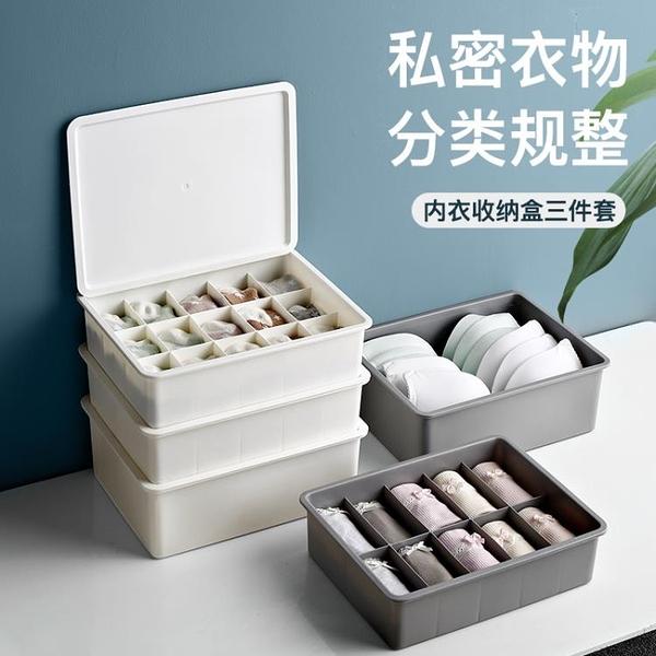 內衣收納盒分格文胸有蓋收納箱三合一【櫻田川島】