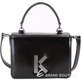 KENZO K Bag 幾何線條字母金屬釦牛皮手提/斜背包(黑色) 1910222-01