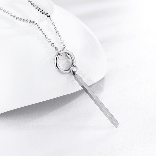 316L鈦鋼項鍊 鈦鋼色 線條造型 女性項鍊 簡約幾何項鍊 生日禮物 閨蜜 單條價【AJS126】Z.MO鈦鋼屋