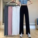 大碼開叉闊腿褲女夏裝新款高腰顯瘦休閒褲胖mm寬鬆直筒垂感長褲 快速出貨