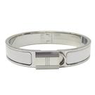 HERMES 愛馬仕 Clic Cadenas Bracelet 白色琺瑯銀色手環 【二手名牌BRAND OFF】