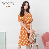 東京著衣【YOCO】YOCO-俏皮甜心波點腰鬆緊澎袖洋裝-S.M.L(190843)