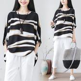 韓版復古棉麻女裝條紋寬鬆顯瘦大尺碼亞麻短袖t恤上衣