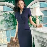 美之札[8S105-PF]中尺碼*西裝V領口袋短袖OL洋裝連身裙