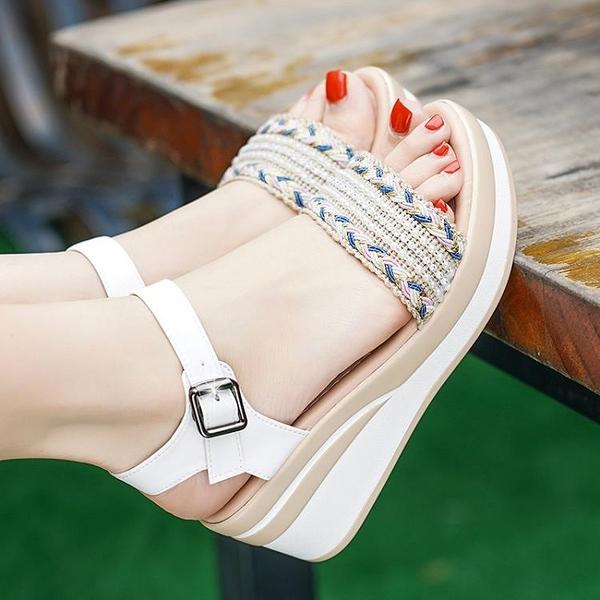 夏季高跟坡跟厚底涼鞋