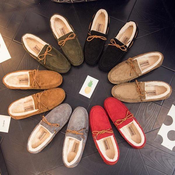 豆豆鞋女加絨2韓版百搭毛毛鞋一腳蹬平跟保暖女棉鞋子   傑克型男館
