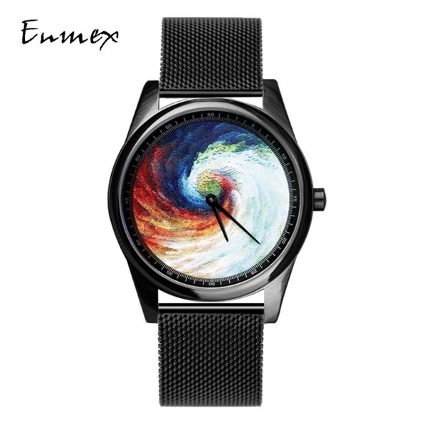 節日禮物 譯時Enmex油畫質感創意漩渦設計炫酷格調文藝氣質手錶     蘑菇街小屋