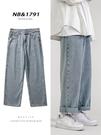 牛仔褲男士寬鬆直筒褲子韓版潮流夏季薄款闊腿九分褲破洞休閒長褲 夢幻小鎮