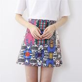 2018新款韓版涂鴉半身裙高腰學生A字裙夏季短裙子女-黑色地帶