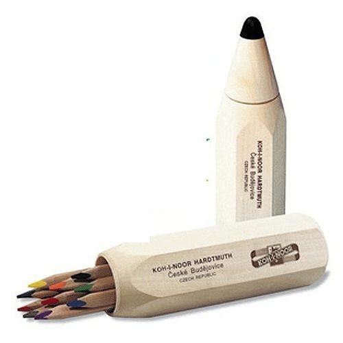 捷克製KOH-I-NOR筆筒造型大三角10色油性色鉛筆
