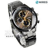 WIRED 經典前衛三眼計時腕錶 防水男錶 IP黑電鍍x金 AY8016X1 7T92-0SM0SD