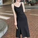 洋裝 女長款2021春夏新款顯瘦氣質打底裙內搭小黑裙【618特惠】