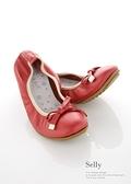 G.Ms. 蝴蝶結牛皮豆豆鞋-紅色