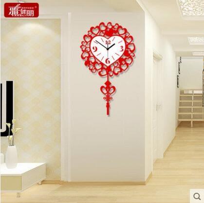 雅刻麗中式掛鐘客廳現代簡約時鐘創意時尚鐘錶喜慶裝潢靜音石英鐘(16英吋)