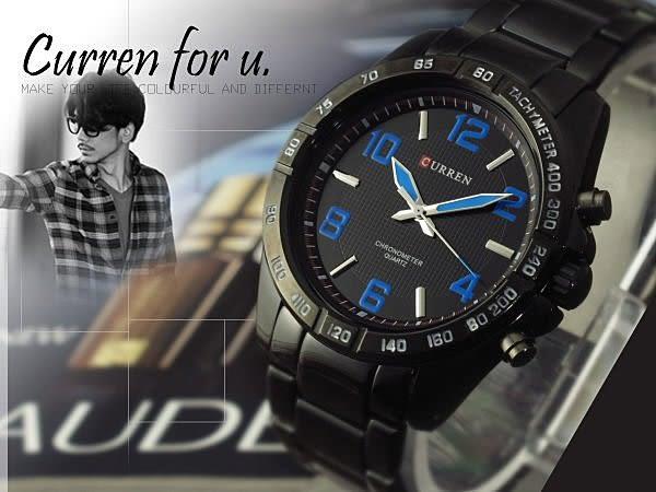 CURREN 經典格紋賽車腕錶款 藍/白 男錶   ☆匠子工坊☆【UK0131】