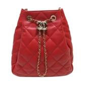CHANEL 香奈兒 紅色羊皮Logo金釦抽繩肩背包 水桶包 Drawstring Bucket Bag  BRAND OFF