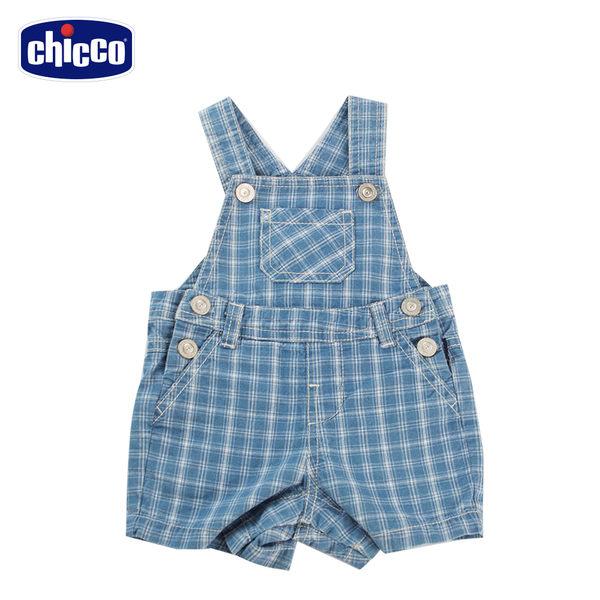 Baby-格紋吊帶短褲-青
