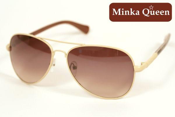 Minka Queen 流行焦點芥末黃色金屬框(抗UV400)時尚個性雷朋太陽眼鏡