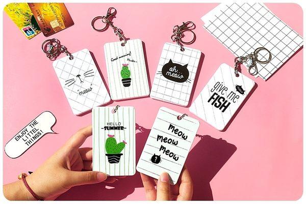【悠遊卡夾】韓系可愛卡通卡套 鑰匙圈 證件信用卡夾 門卡 磁卡 仙人掌 貓咪 火烈鳥 草莓