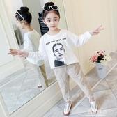 新款韓版童套裝女童春裝中大童兒童美女印花T恤燈芯褲兩件套 易家樂小鋪