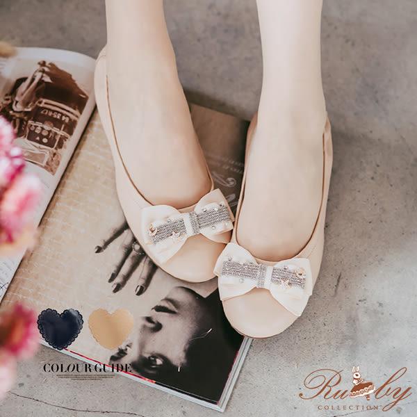 鞋子 MIT台灣手工鞋珍珠水鑽星星月亮蝴蝶結內增高平底鞋-Ruby s 露比午茶