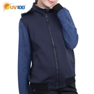 UV100 防曬 抗UV 保暖異素材拼接女外套-連帽可收