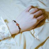 招桃花天然草莓晶水晶手鍊女 轉運旺姻緣森繫可調節閨蜜手繩禮物 全館免運