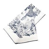 HERMES 愛馬仕 白底深藍色豹與動植物圖樣絲質大方巾  【BRAND OFF】