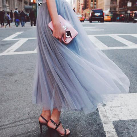 韓版網紗半身裙女高腰長裙a字裙紗裙蓬蓬裙中長款潮    琉璃美衣