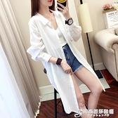 防曬衫女中長款春夏裝長袖寬鬆超火白襯衫bf薄外套上衣潮 時尚芭莎