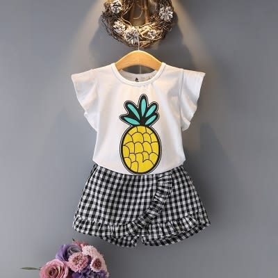童裝夏裝套裝新款女童上衣褲子兒童T恤條紋裙褲兩件套 〖korea時尚記〗