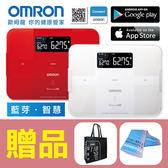 【歐姆龍OMRON】藍芽智慧體重體脂計HBF-254C (紅、白),贈品:歐姆龍提袋x1+康諾純棉運動毛巾x1
