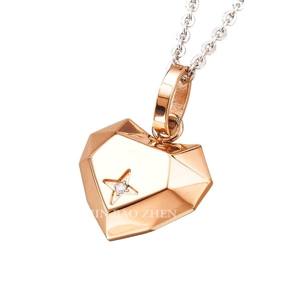 EZGOLD-愛的焦點-玫瑰金S-鋼飾項鍊