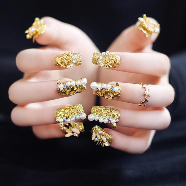 現貨~ NC907 黃金甲 金色蝴蝶 成品手工美甲 新娘甲片 假指甲 長款顯手白