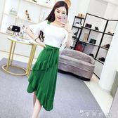 連身裙女夏新款韓版氣質喇叭袖收腰撞色拼接荷葉邊不規則裙潮 薔薇時尚